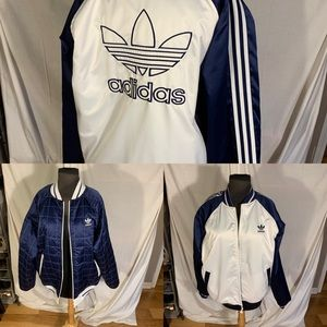 Adidas satin/ quilted reversible bomber jacket M
